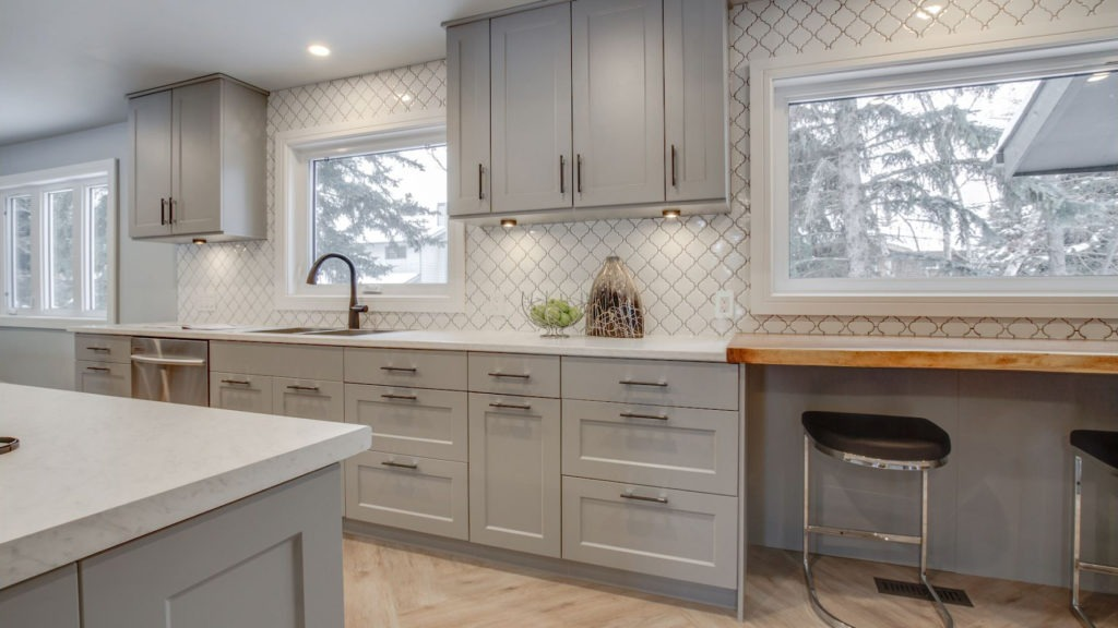 Kitchen with shaker cabinets.
