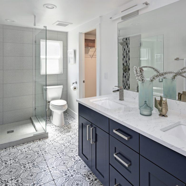 Modern bathroom interior with blue double vanity