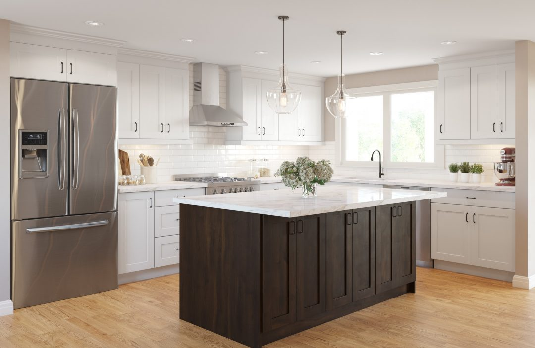 Whistler Flat White and Chocolate Pear Thermofoil kitchen cabinets